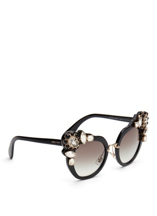 Figure View - Click To Enlarge - miu miu - 'Catwalk' jewelled acetate cat eye sunglasses