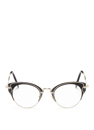 Main View - Click To Enlarge - miu miu - Acetate inlay wire cat eye optical glasses