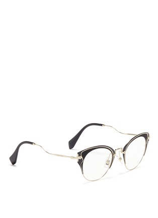 Figure View - Click To Enlarge - miu miu - Acetate inlay wire cat eye optical glasses