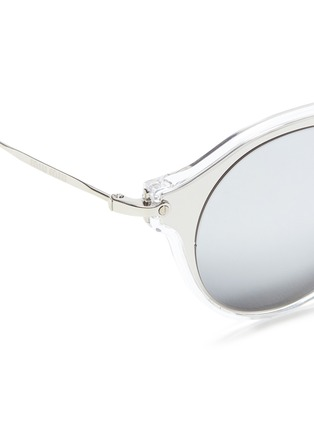 Detail View - Click To Enlarge - miu miu - Metal inlay acetate round mirror sunglasses