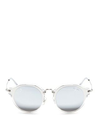 Main View - Click To Enlarge - miu miu - Metal inlay acetate round mirror sunglasses