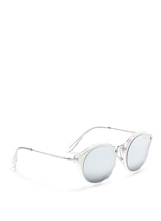Figure View - Click To Enlarge - miu miu - Metal inlay acetate round mirror sunglasses