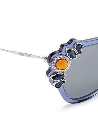 Detail View - Click To Enlarge - miu miu - 'Catwalk' jewelled acetate and metal square sunglasses