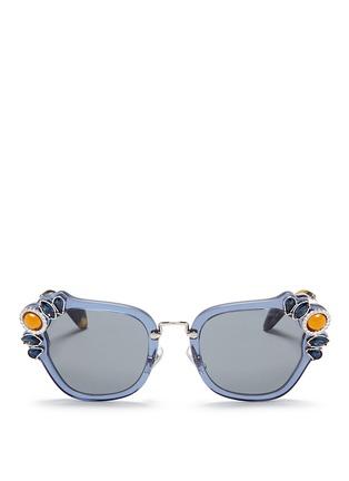 Main View - Click To Enlarge - miu miu - 'Catwalk' jewelled acetate and metal square sunglasses