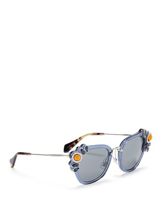 Figure View - Click To Enlarge - miu miu - 'Catwalk' jewelled acetate and metal square sunglasses