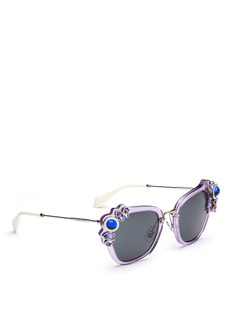 miu miu 'Catwalk' jewelled acetate and metal square sunglasses