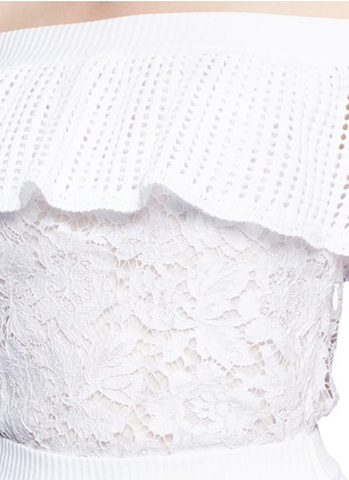 Detail View - Click To Enlarge - Valentino - Guipure lace panel crochet off-shoulder romper dress