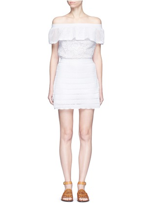 Main View - Click To Enlarge - Valentino - Guipure lace panel crochet off-shoulder romper dress