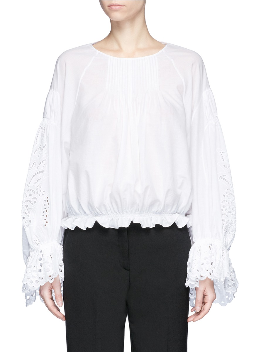 Pineapple broderie anglaise bell sleeve blouse by Chloé