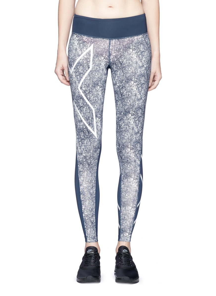 Pattern Mid-Rise Compression performance tights by 2Xu