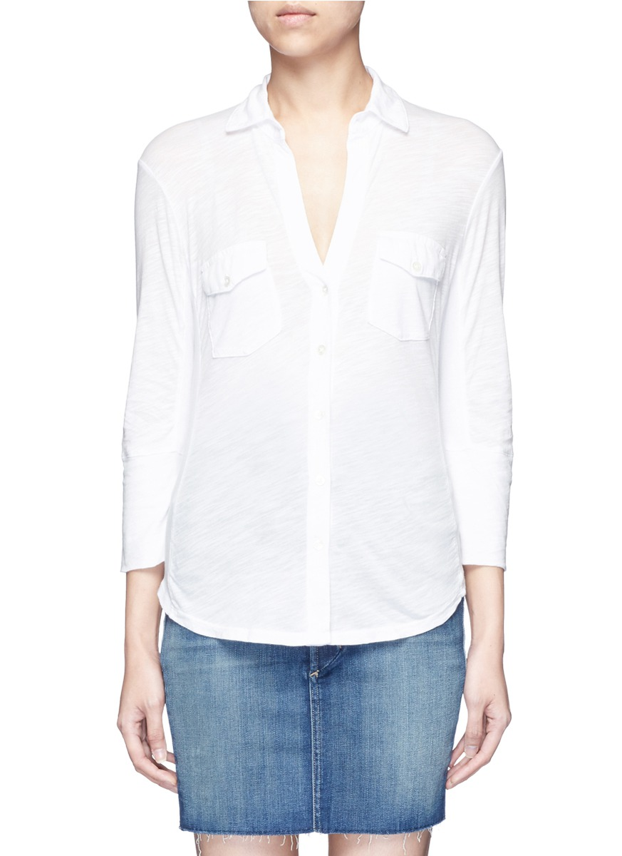 Ribbed side slub jersey shirt by James Perse