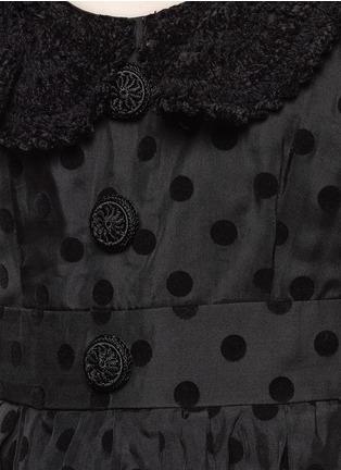 Detail View - Click To Enlarge - Marc Jacobs - Flocked polka dot crochet collar silk dress