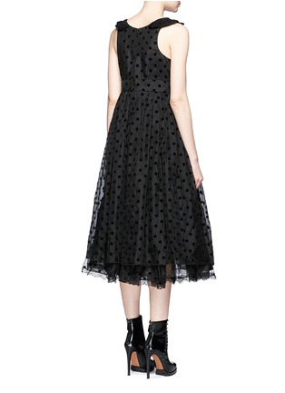 Back View - Click To Enlarge - Marc Jacobs - Flocked polka dot crochet collar silk dress