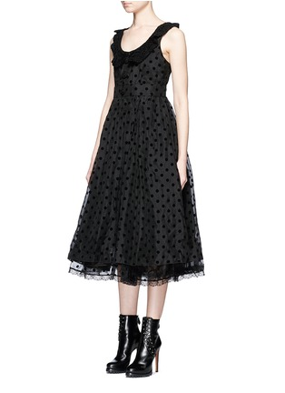 Front View - Click To Enlarge - Marc Jacobs - Flocked polka dot crochet collar silk dress