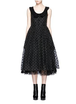 Main View - Click To Enlarge - Marc Jacobs - Flocked polka dot crochet collar silk dress