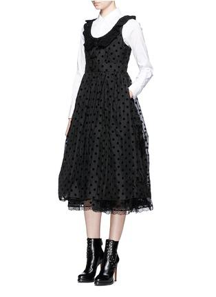 Figure View - Click To Enlarge - Marc Jacobs - Flocked polka dot crochet collar silk dress