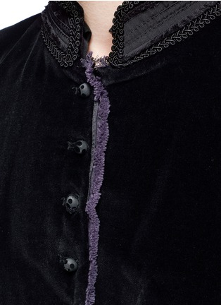 Detail View - Click To Enlarge - Marc Jacobs - Embroidered collar velvet jacket