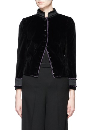 Main View - Click To Enlarge - Marc Jacobs - Embroidered collar velvet jacket