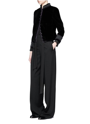 Figure View - Click To Enlarge - Marc Jacobs - Embroidered collar velvet jacket