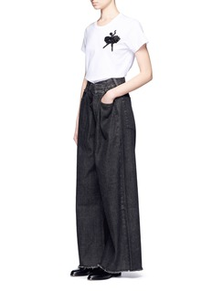 Marc Jacobs Foldover front embroidered wide leg jeans