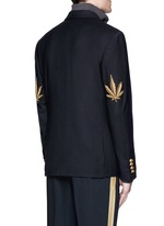 Hemp leaf embroidery double breasted soft blazer