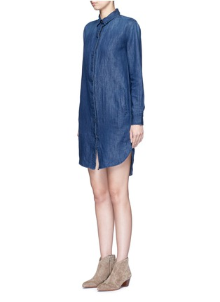 Front View - Click To Enlarge - Closed - High-low hem denim shirt dress