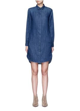 Closed-High-low hem denim shirt dress