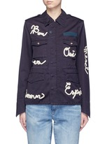 Message ribbon appliqué military jacket
