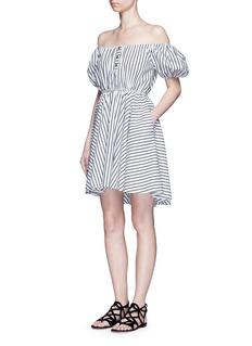 Caroline Constas'Bardot' stripe off-shoulder dress
