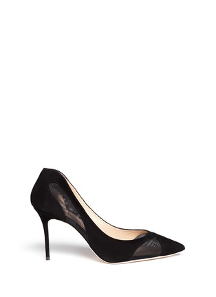 Main View - Click To Enlarge - Giuseppe Zanotti Design - 'Lucrezia' suede mesh cutout pumps