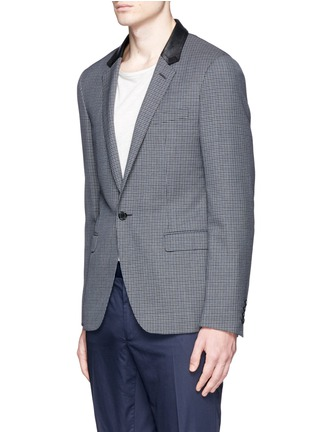 Front View - Click To Enlarge - Lanvin - Leather collar check wool blazer