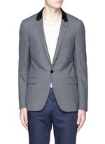 Leather collar check wool blazer
