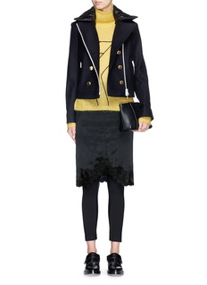 RAG & BONE'Francis' removable collar zip front cropped peacoat