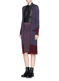 RAG & BONE 'Kristin' colourblock Merino wool panel long cardigan