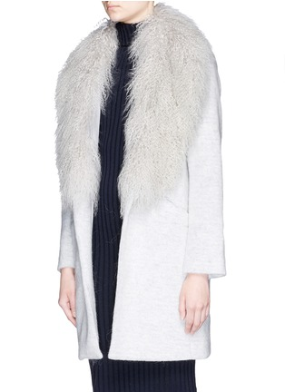 Front View - Click To Enlarge - Elizabeth and James - 'Iris' detachable Mongolian fur collar soft focus felted coat