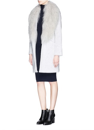 Figure View - Click To Enlarge - Elizabeth and James - 'Iris' detachable Mongolian fur collar soft focus felted coat