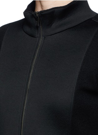 Detail View - Click To Enlarge - Armani Collezioni - Neoprene panel wool knit jacket