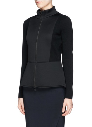 Front View - Click To Enlarge - Armani Collezioni - Neoprene panel wool knit jacket