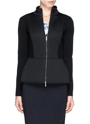 Main View - Click To Enlarge - Armani Collezioni - Neoprene panel wool knit jacket