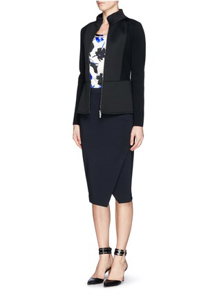 Figure View - Click To Enlarge - Armani Collezioni - Neoprene panel wool knit jacket