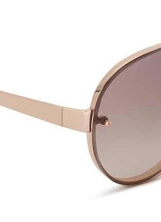 Detail View - Click To Enlarge - LINDA FARROW Accessories - Mounted lens titanium aviator sunglasses
