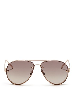 Main View - Click To Enlarge - LINDA FARROW Accessories - Mounted lens titanium aviator sunglasses