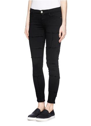 Front View - Click To Enlarge - Frame Denim - 'Le Skinny de Jeanne' frayed panel jeans