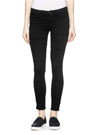 Main View - Click To Enlarge - Frame Denim - 'Le Skinny de Jeanne' frayed panel jeans