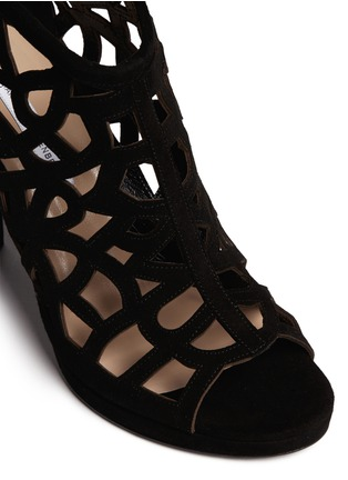 Detail View - Click To Enlarge - DIANE VON FURSTENBERG SHOES - 'Delancey' caged suede platform sandals
