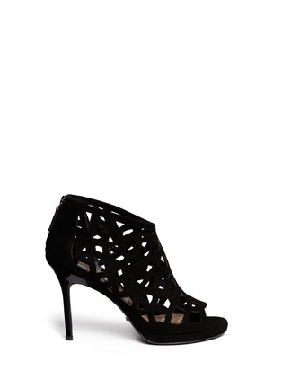 Main View - Click To Enlarge - DIANE VON FURSTENBERG SHOES - 'Delancey' caged suede platform sandals