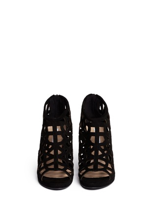 Figure View - Click To Enlarge - DIANE VON FURSTENBERG SHOES - 'Delancey' caged suede platform sandals