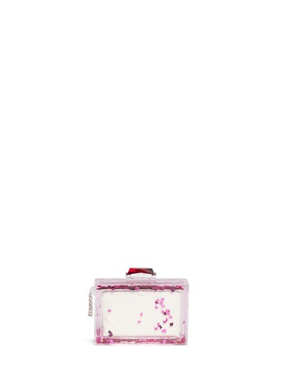 Back View - Click To Enlarge - KOTUR - 'Social Butterfly' Glitter Perspex clutch