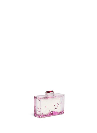 Front View - Click To Enlarge - KOTUR - 'Social Butterfly' Glitter Perspex clutch