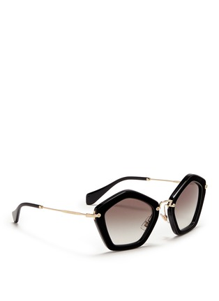 Figure View - Click To Enlarge - miu miu - 'Culte' pentagon frame acetate sunglasses